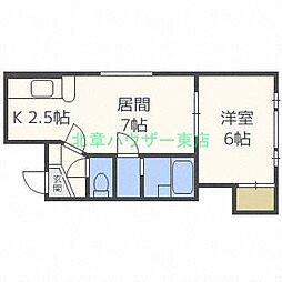北海道札幌市東区北二十一条東7丁目の賃貸アパートの間取り