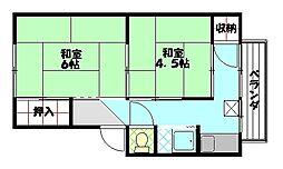 中豊アパート[201号室]の間取り