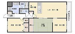 大阪府八尾市老原1丁目の賃貸マンションの間取り