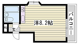 JR播但線 香呂駅 徒歩1分の賃貸マンション 2階ワンルームの間取り