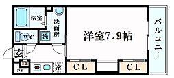 阪急今津線 門戸厄神駅 徒歩7分の賃貸マンション 2階1Kの間取り