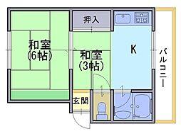 十三マンション[2F号室]の間取り