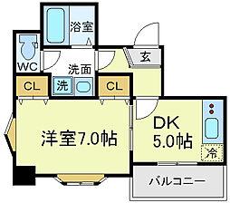 大阪府大阪市天王寺区上汐6丁目の賃貸マンションの間取り