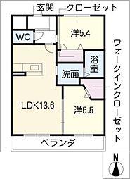 パナケイア 2階2LDKの間取り