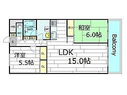 クローバーハイツ江戸堀[5階]の間取り