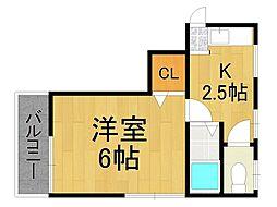 メロディ甲子園[4階]の間取り