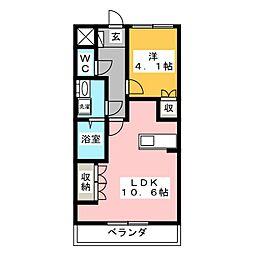 ベル・シャトー 2階1LDKの間取り