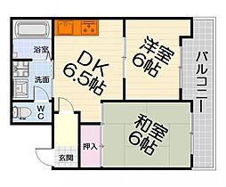 大阪府堺市西区浜寺元町6丁の賃貸マンションの間取り