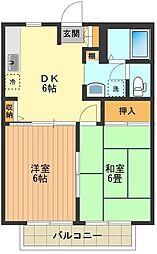 東京都八王子市石川町の賃貸アパートの間取り