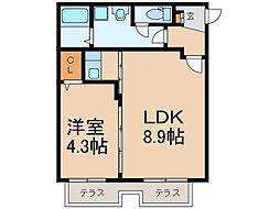 ビバリーヒルズハウス 1階1LDKの間取り