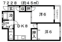JPアパートメント藤井寺2[302号室号室]の間取り