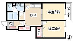 愛知県名古屋市守山区野萩町の賃貸アパートの間取り