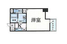 Osaka Metro谷町線 谷町四丁目駅 徒歩5分の賃貸マンション 14階1Kの間取り