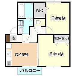 茨城県つくばみらい市陽光台2丁目の賃貸アパートの間取り