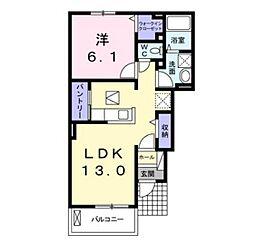 JR宇野線 備前西市駅 徒歩35分の賃貸アパート 1階1LDKの間取り