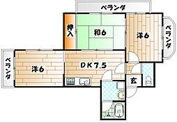 福岡県北九州市戸畑区丸町1丁目の賃貸マンションの間取り