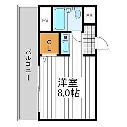 大阪府大阪市東住吉区北田辺5丁目の賃貸アパートの間取り