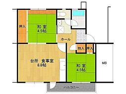 UR逆瀬川住宅[10-304号室]の間取り