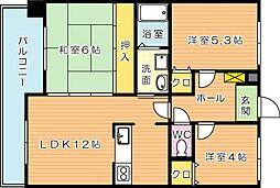 メゾン京良城[3階]の間取り