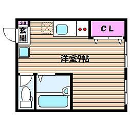 兵庫県神戸市灘区大和町4丁目の賃貸アパートの間取り