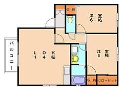 カーサ新宮A[2階]の間取り