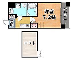 阪神本線 新在家駅 徒歩6分の賃貸マンション 6階1Kの間取り