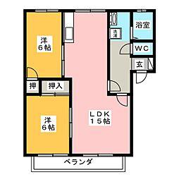 プルード長住[1階]の間取り