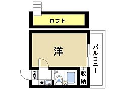 桜井第5マンション 2階1Kの間取り