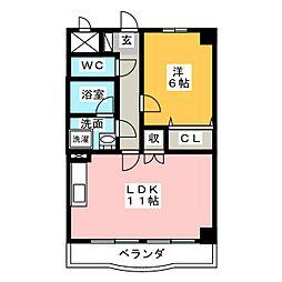 レジーナ鳥居松[6階]の間取り