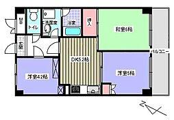 ピアコート大倉山[405号室]の間取り