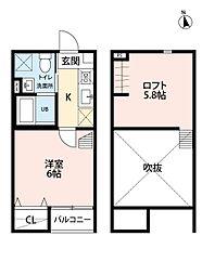 JR東北本線 仙台駅 徒歩13分の賃貸アパート 2階1Kの間取り