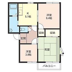 ウィステリア B[2階]の間取り
