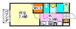 千葉県船橋市東船橋3丁目の賃貸アパートの間取り