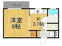 兵庫県西宮市林田町の賃貸アパートの間取り