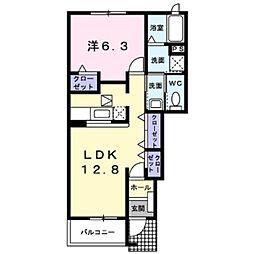 しなの鉄道 平原駅 徒歩28分の賃貸アパート 1階1LDKの間取り