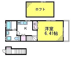 JR中央線 武蔵境駅 徒歩6分の賃貸アパート 2階1Kの間取り