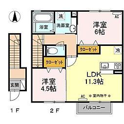 フォレスタ類家B[2階]の間取り