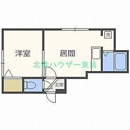 北海道札幌市東区北二十一条東13の賃貸アパートの間取り