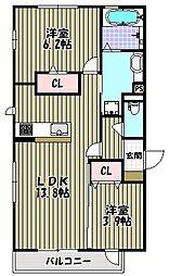 ラディアコート[2階]の間取り