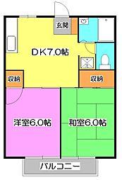 埼玉県新座市畑中2の賃貸アパートの間取り