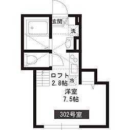 新築パークアレイ笹塚 3階ワンルームの間取り