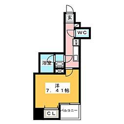 グランカーサ上野入谷 12階1Kの間取り