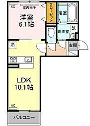 JR宇野線 備前西市駅 3.2kmの賃貸アパート 3階1LDKの間取り