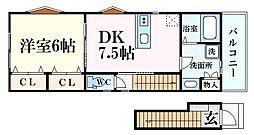 仮)今津水波町PJ 2階1DKの間取り