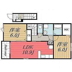 千葉県香取市観音の賃貸アパートの間取り