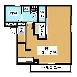 D-room石兼 3階ワンルームの間取り