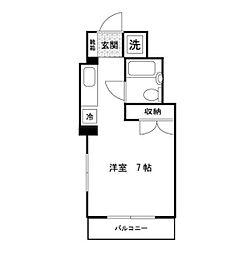 JR中央線 西国分寺駅 徒歩7分の賃貸マンション 5階ワンルームの間取り