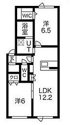 北海道石狩市花川北七条3丁目の賃貸アパートの間取り