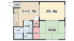 オレンジパレスSAITO[102号室]の間取り