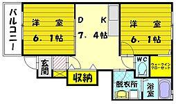 サンライト宗像2[1階]の間取り